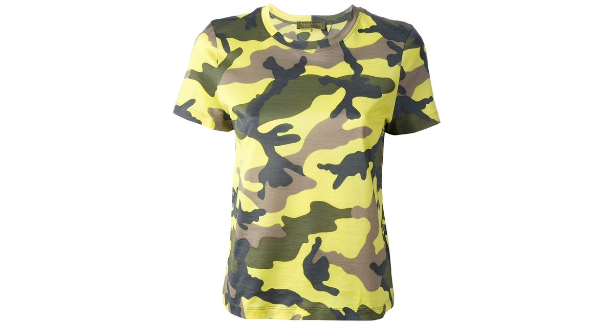 fd1b1a5aa Valentino Camouflage Print T-shirt in Yellow - Lyst