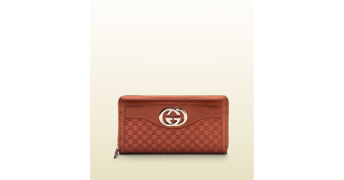 bb8ebf43fde Lyst - Gucci Sukey Burnt Orange Metallic Microguccissima Leather Zip Around  Wallet in Brown