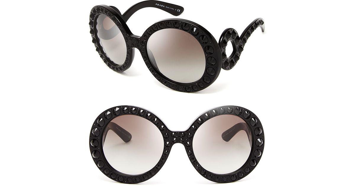 15eea21e4cc5 ... real lyst prada round absolute baroque crystal sunglasses in black  7f1e7 ec40d