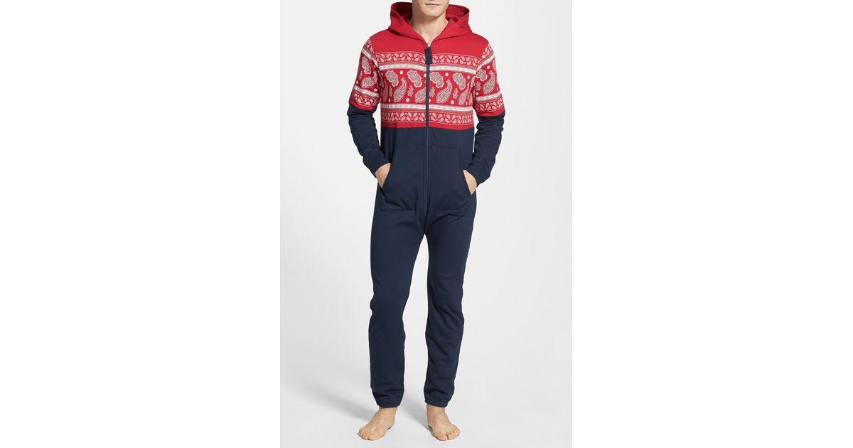 Lyst - Topman Paisley Pattern Hooded Onesie in Red for Men