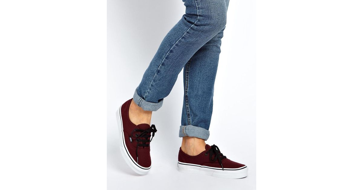 03ab057d09 Lyst - Vans Authentic Burgundy Lace Up Trainers in Purple
