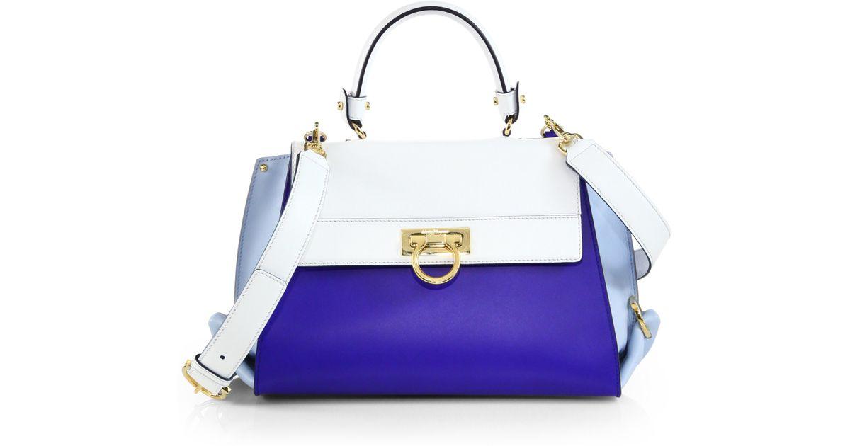 Lyst - Ferragamo Sofia Colorblock Satchel in Blue d15328f3ee2a7