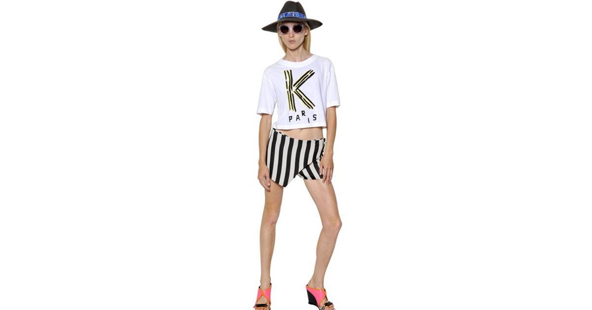 4cd2787135cf6 Lyst - KENZO Logo Printed Cotton Jersey Crop Tshirt in White