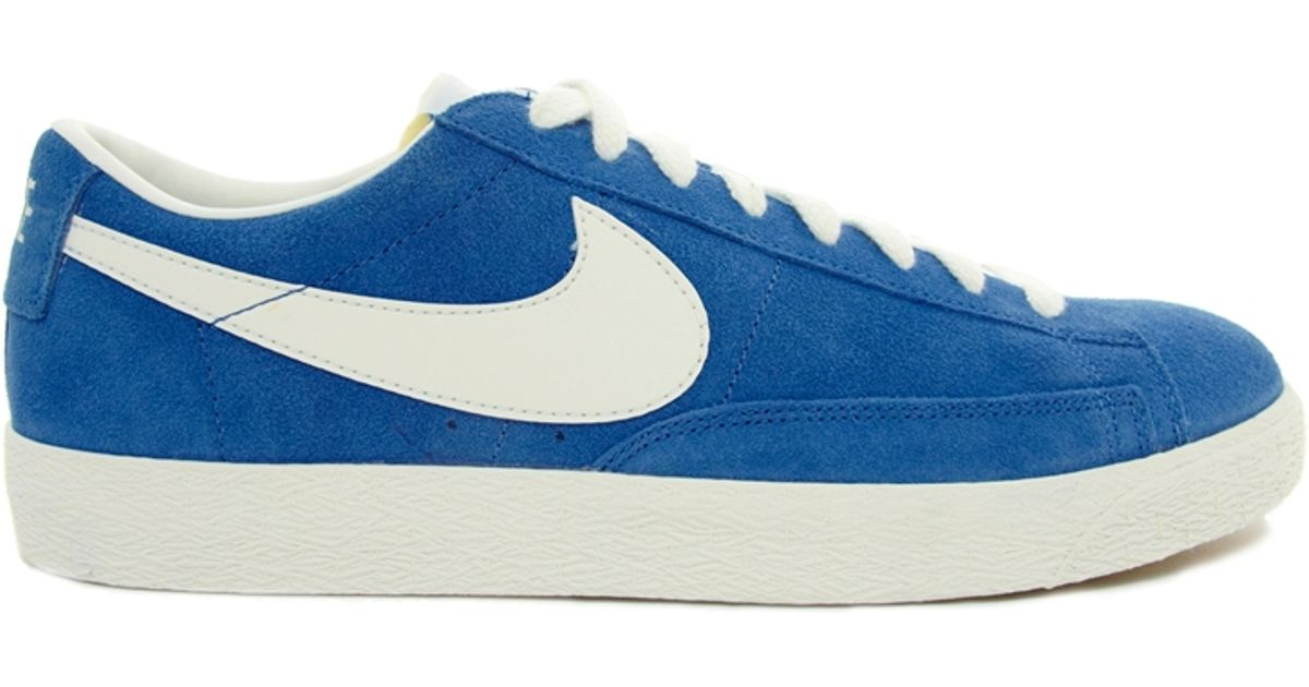 ce1f7a1dec ... promo code for 50 off lyst nike blazer low suede trainers in blue for  men .