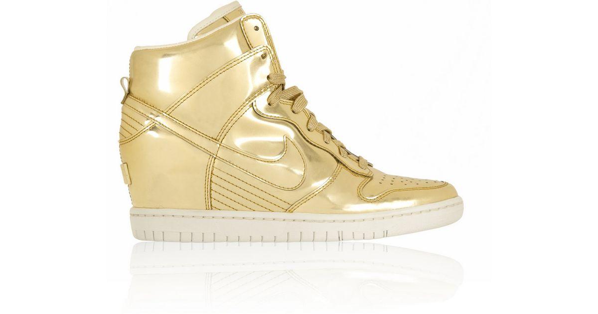 0f9f09b5802e ... promo code for nike dunk sky hi metallic leather wedge sneakers in metallic  lyst 4de92 b1f06