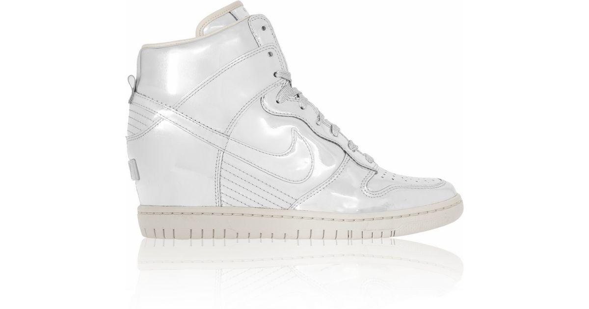 7eb6b1587f7 ... promo code for nike dunk sky hi metallic leather wedge sneakers in  metallic lyst f6001 719df