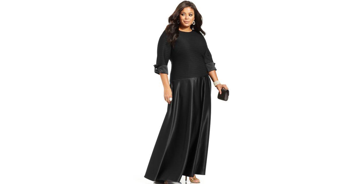 424fffdd34993 Lyst - Xscape Plus Size Three Quarter Sleeve Shutter Pleat Gown in Black