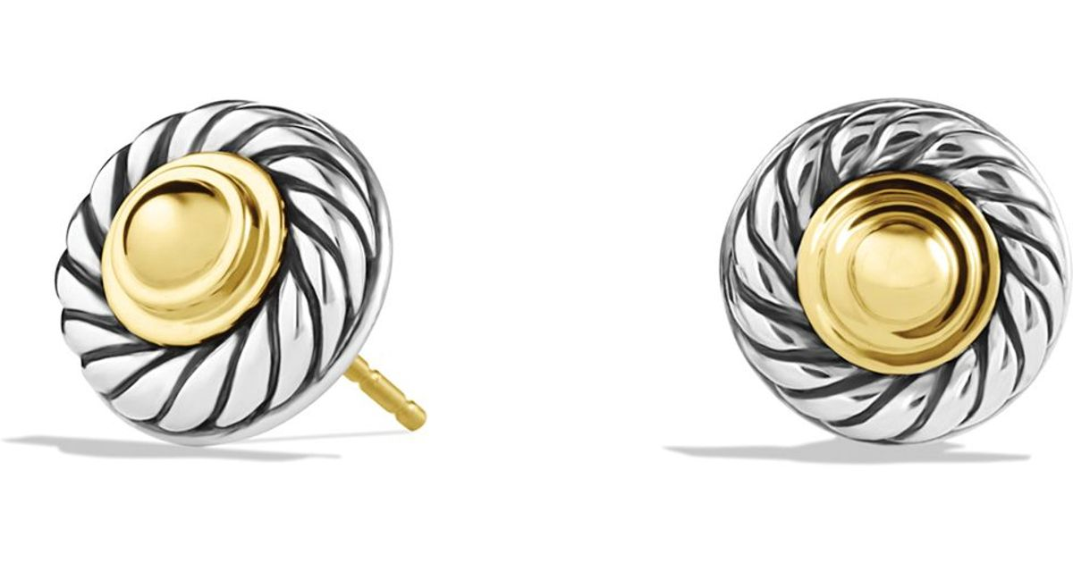 Lyst - David yurman Cable Classics Earrings With Gold Domes in ...