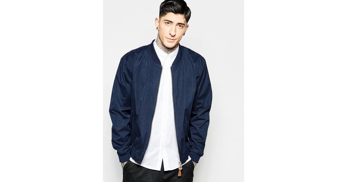 shop for original purchase newest buy cheap Fat Moose Blue Bomber Jacket In Navy for men