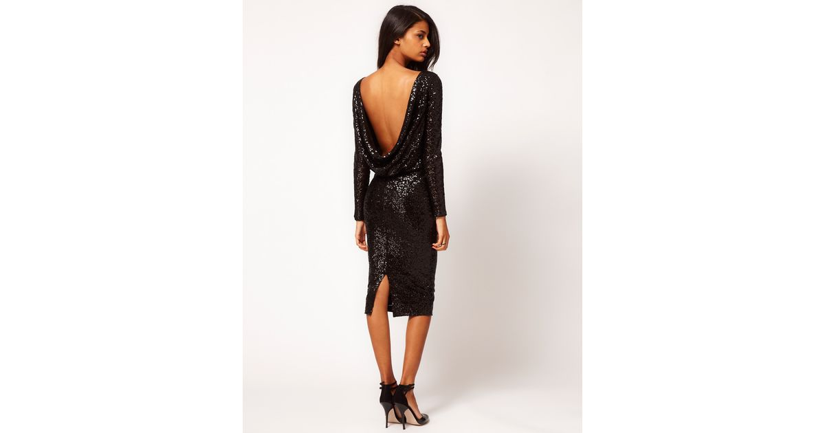 5b0484e7 Black Sequin Cowl Back Dress – Little Black Dress | Black Lace ...