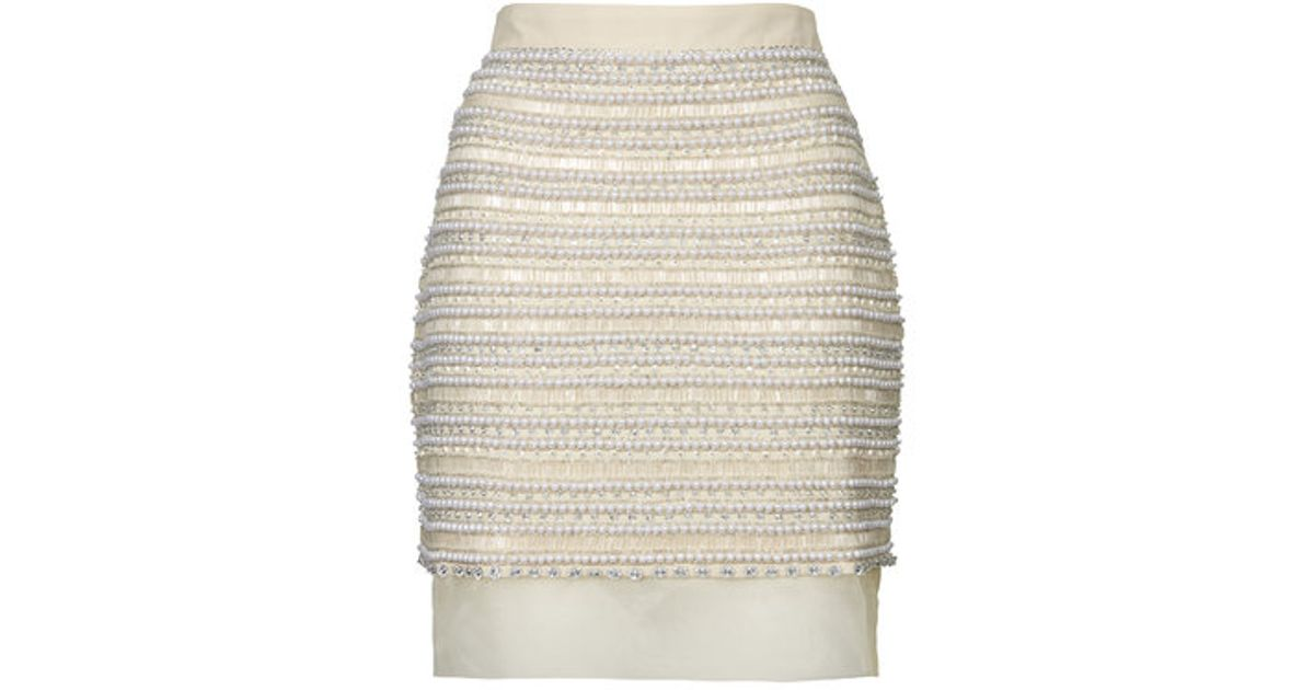 a93f6f1e8 TOPSHOP Limited Edition Diamante Pearl Skirt in Natural - Lyst