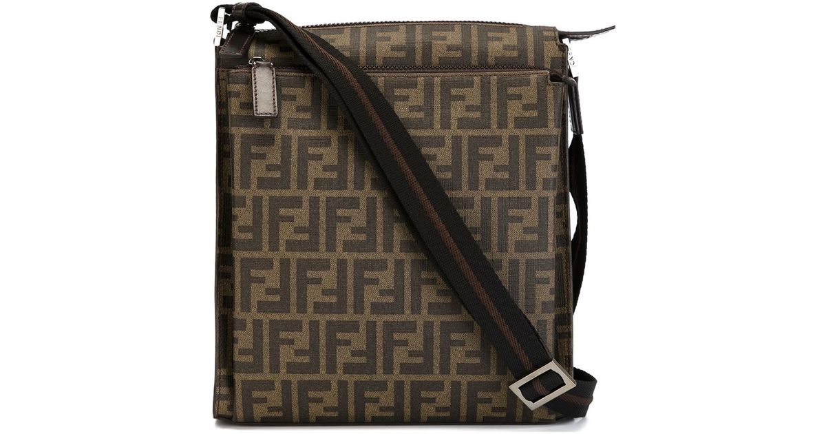 ac94e3f344 ... top quality fendi zucca messenger bag in brown for men lyst a5fc5 95777