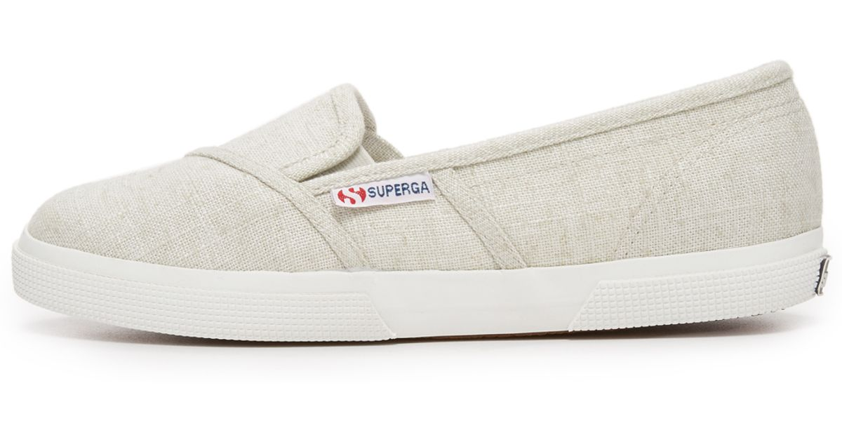 Superga Linen Slip On Sneakers In Gray Lyst