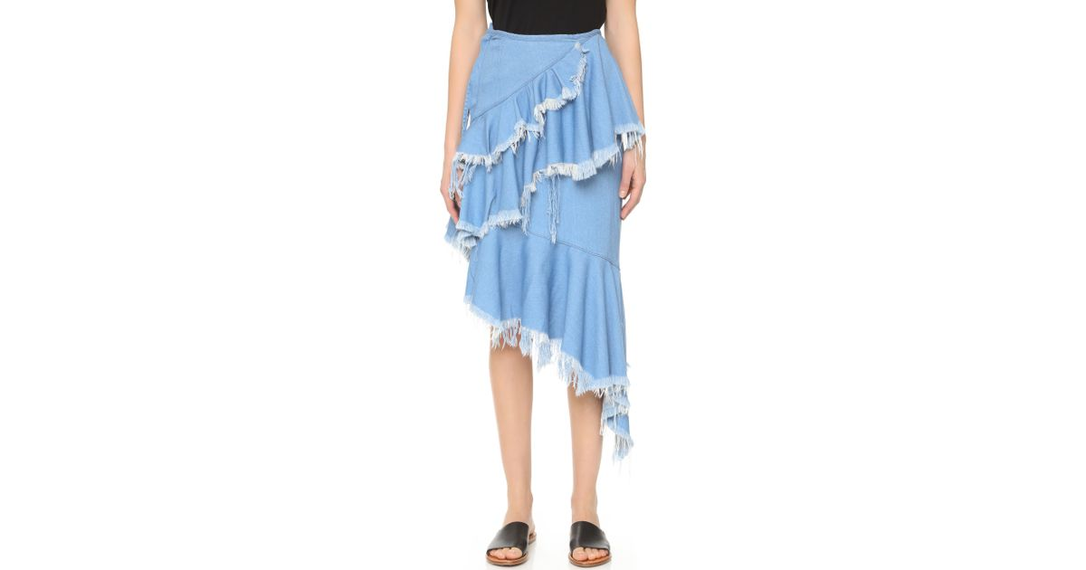 marques almeida asymmetrical denim skirt with frills in