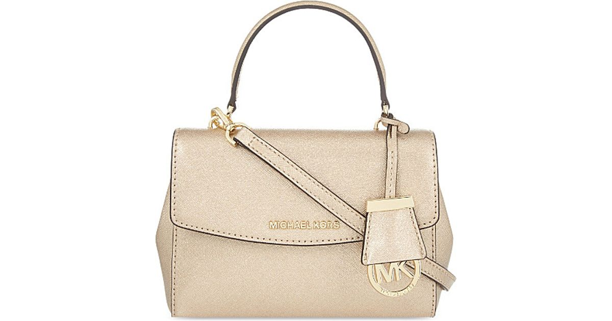7fde5bbbd64e ... cheap lyst michael michael kors ava leather xs cross body bag in  natural af143 68e46 ...