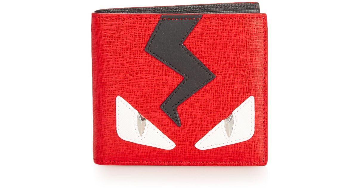 2f679a86a0 Fendi Bag Bugs Leather Bi-fold Wallet - Lyst