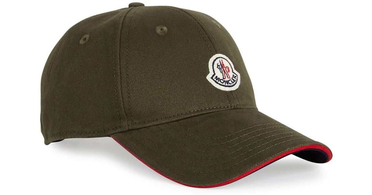 384a3c3fad2 Moncler Olive Green Twill Cap in Natural for Men - Lyst