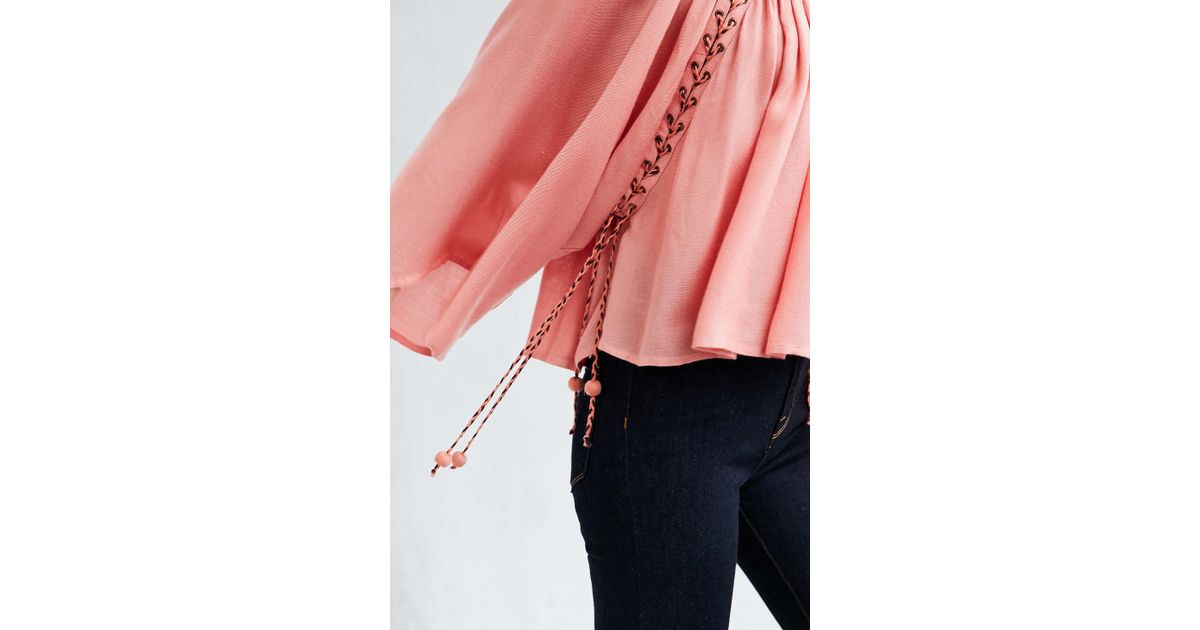 747bd30d1f814a Kimchi Blue Mayla Lace-up Blouse in Pink - Lyst