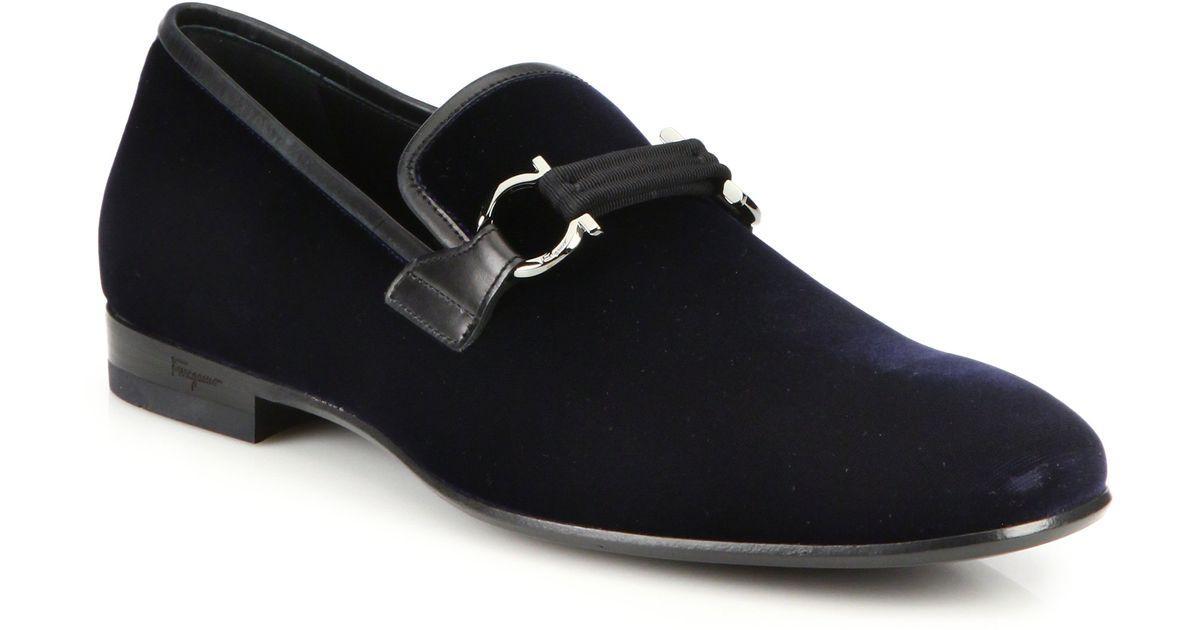 d9de8ea5bcb Lyst - Ferragamo Party Velvet Smoking Slippers in Blue for Men