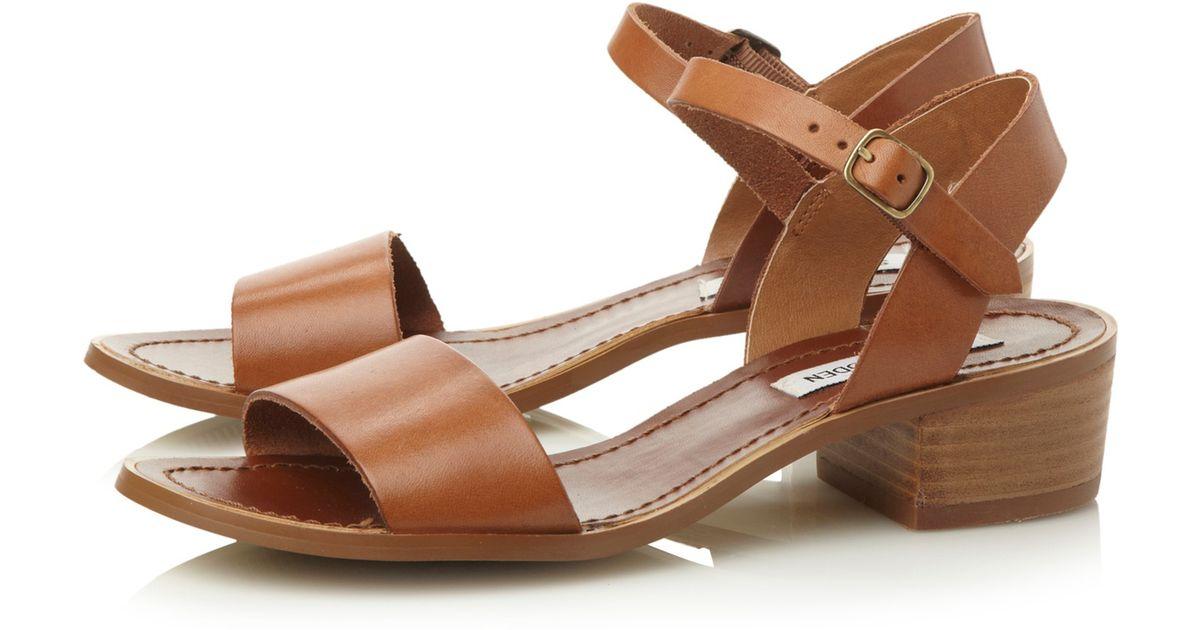 294c72fc0ba Steve Madden Dense Leather Block Heel Sandals in Brown - Lyst