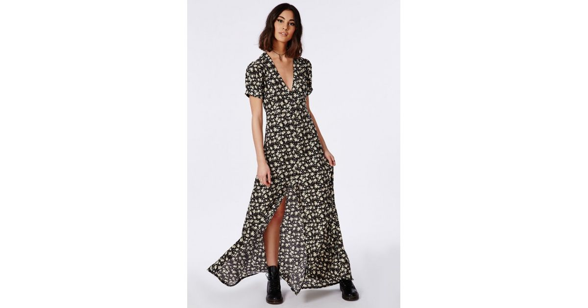 Lyst Missguided Short Sleeve Button Through Maxi Dress Black
