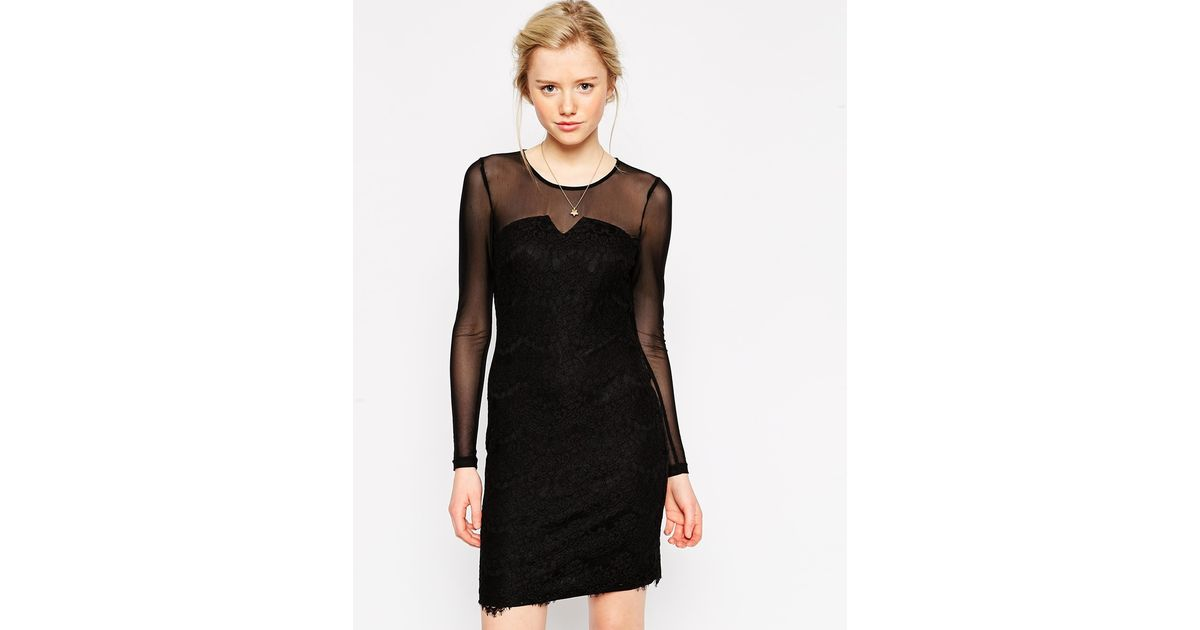 Lyst Traffic People Neverending Story Lace Dress With Mesh Sleeves