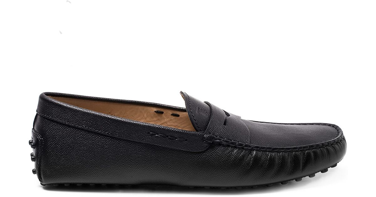 7786fdcb066 Lyst - Tod s Black Gommino Leather Penny Loafer Driving Shoes in Black for  Men