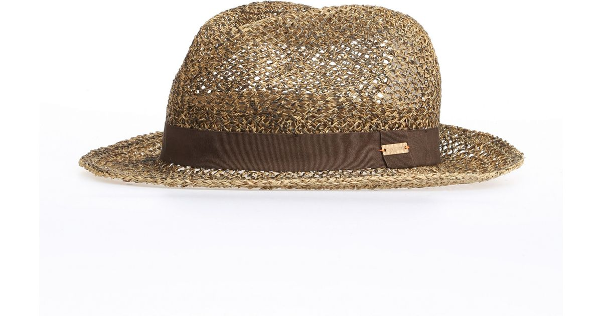 091310bf BOSS Orange Summer Straw Hat With Corded Ribbon: 'finne' in Brown - Lyst