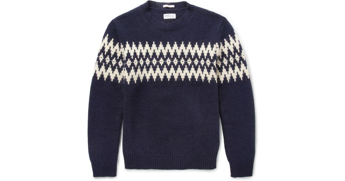 Gant rugger Fair Isle-Jacquard Wool-Blend Sweater in Blue for Men ...