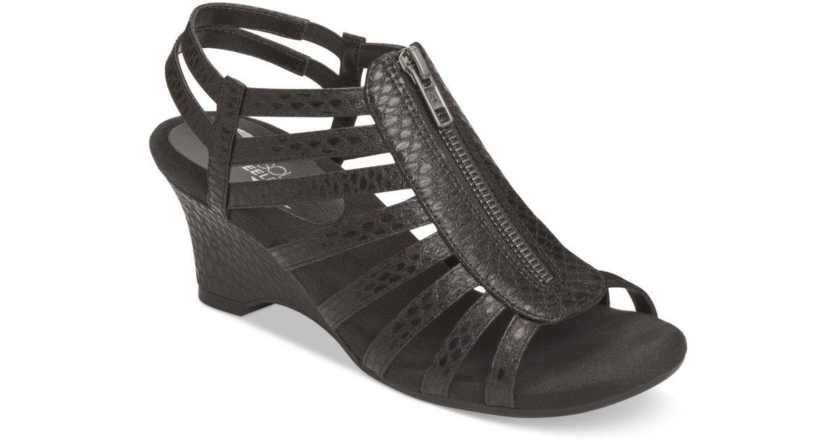 8cd60482f3 Aerosoles Half Dozen Wedge Sandals in Black - Lyst