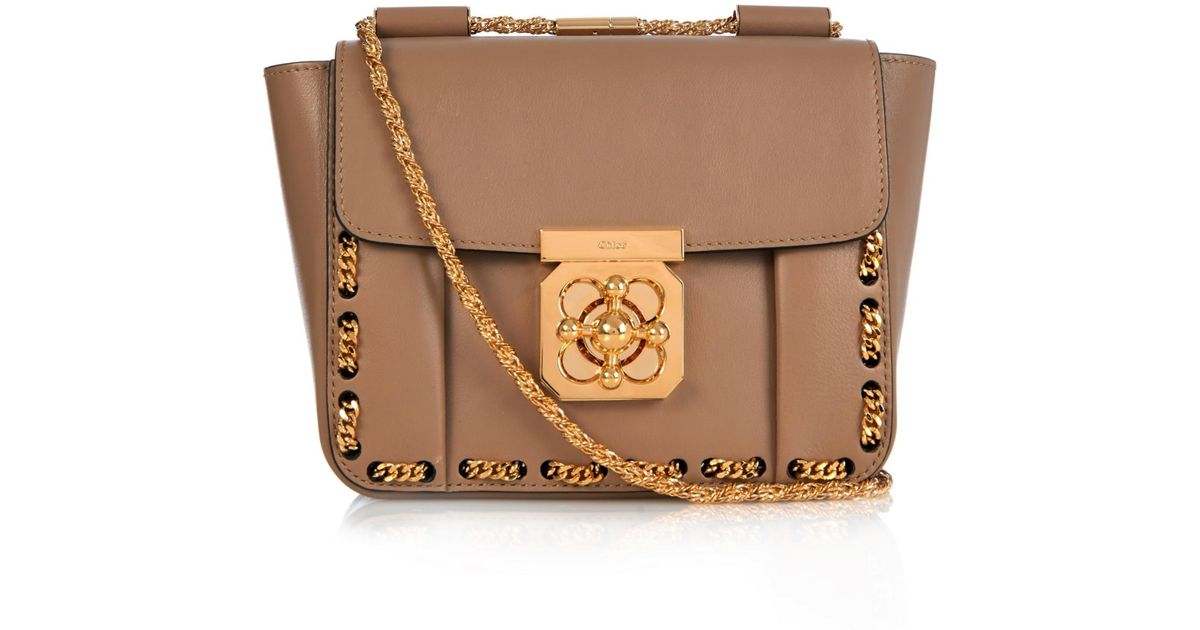 Chlo�� Elsie Threaded-Chain Shoulder Bag in Beige (DARK BEIGE) | Lyst