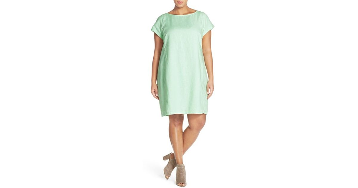 f5fc25c72f Lyst - Eileen Fisher Bateau Neck Organic Linen Shift Dress in Green