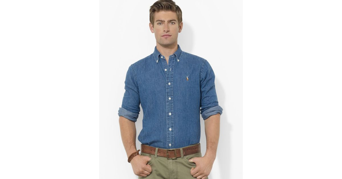 ed18290a91 Lyst - Ralph Lauren Polo Denim Classic Button Down Shirt - Regular Fit in  Blue for Men