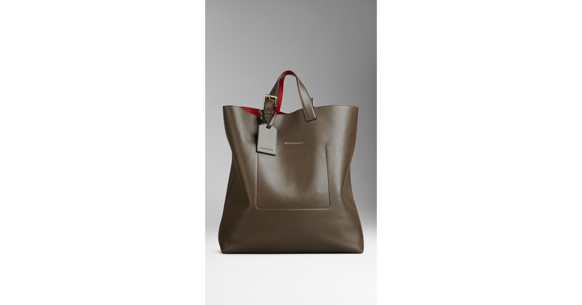 f5662088817f Burberry Large Bonded Leather Portrait Tote Bag in Brown - Lyst