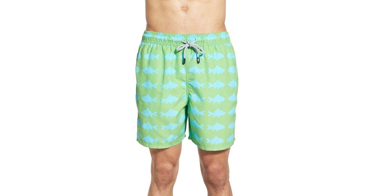 Tom teddy 39 fish pattern 39 swim trunks in green for men lyst for Fishing swim trunks