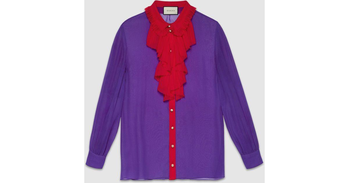b65ae102f Gucci Silk Ruffle Front Shirt in Purple - Lyst