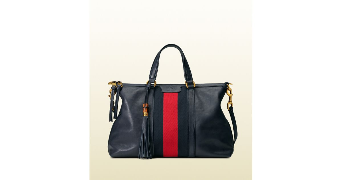 c6d35023a10480 Gucci Rania Leather Top Handle Bag in Blue - Lyst