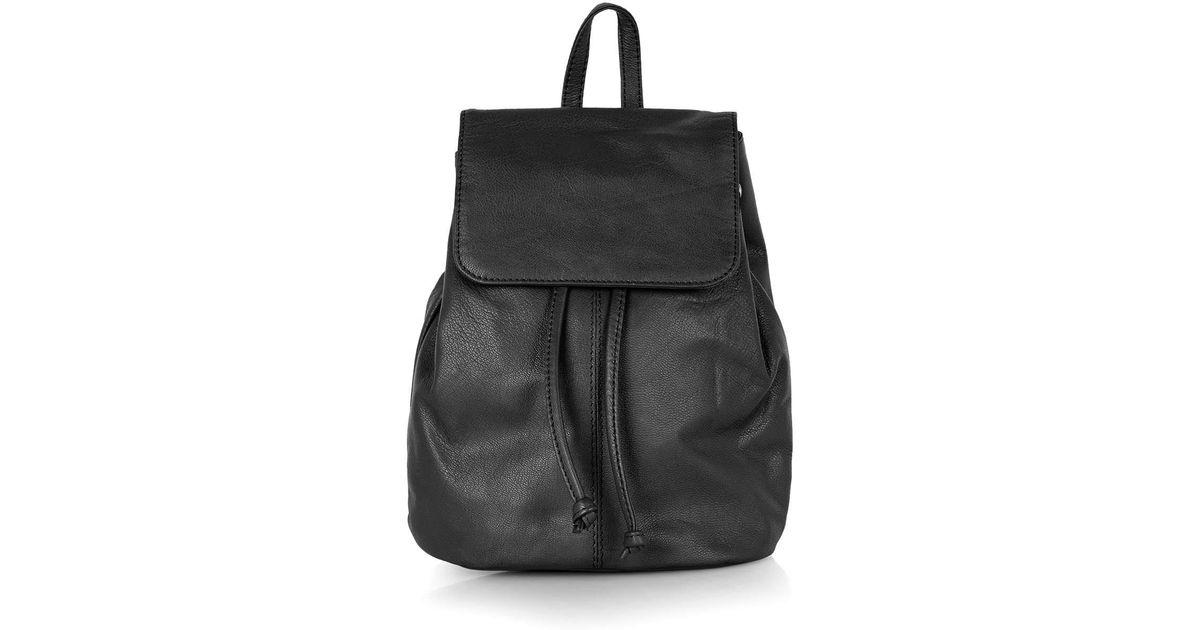 8bd7085dd47e Lyst - TOPSHOP Mini Leather Backpack in Black