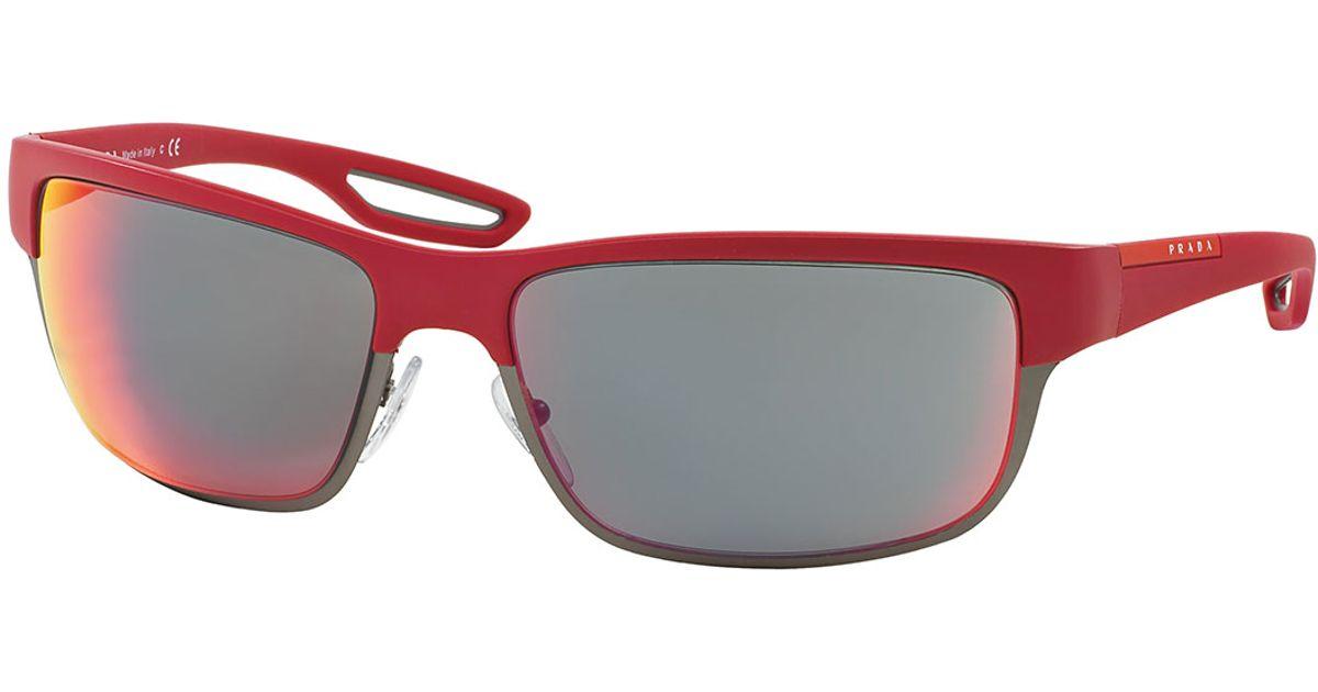 5c0c59823542 ... denmark lyst prada half rim rubber sport sunglasses in red for men  98f7a 28bdf