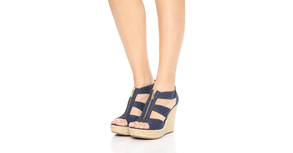 1ce87712c296 Lyst - MICHAEL Michael Kors Damita Wedge Sandals in Blue