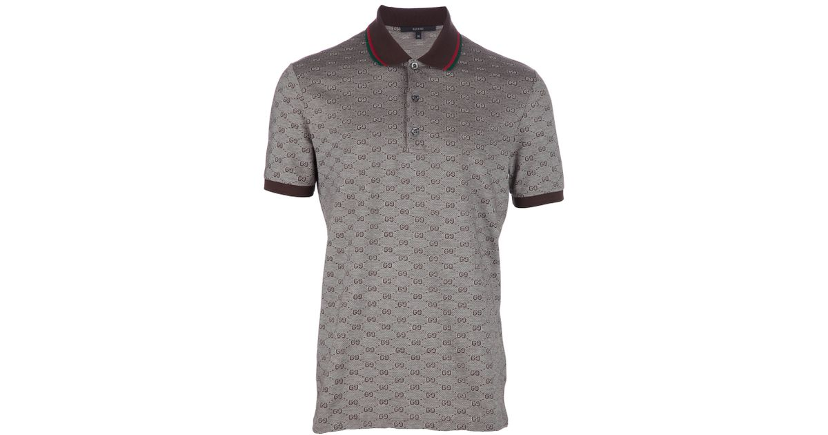 Gucci Monogram Polo Shirt In Brown For Men Lyst