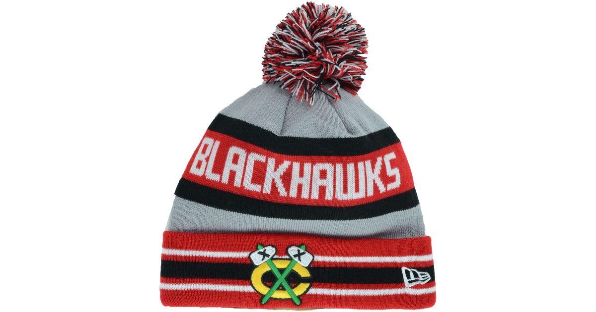 3b3c9111cb3 ... denmark lyst ktz chicago blackhawks jake pom knit hat in red for men  42e36 c8ef9