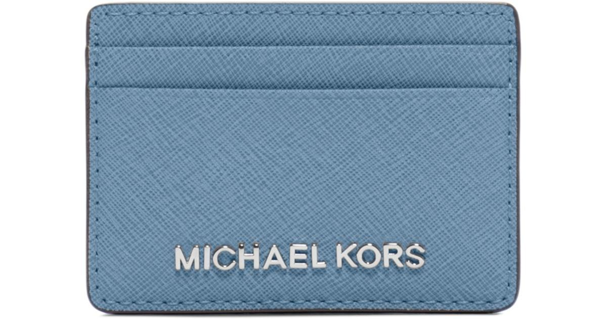 76add459821b0 Lyst - Michael Kors Travel Saffiano Leather Card Case in Blue