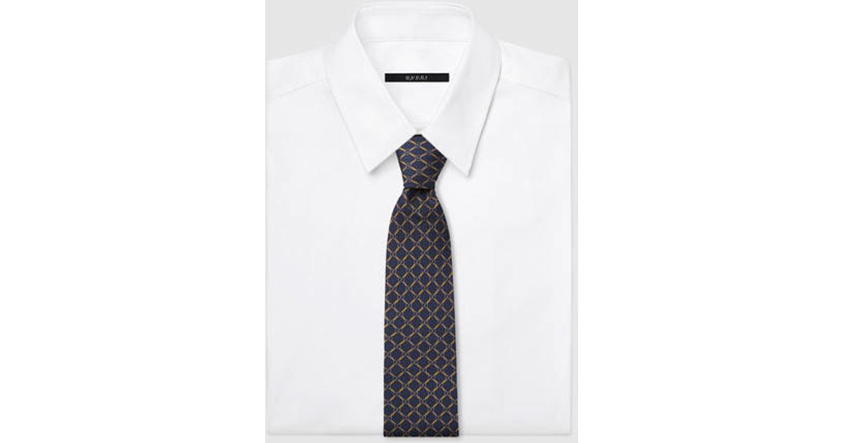 17c0e103556 Lyst - Gucci Gg Pattern Silk Twill Tie in Blue for Men