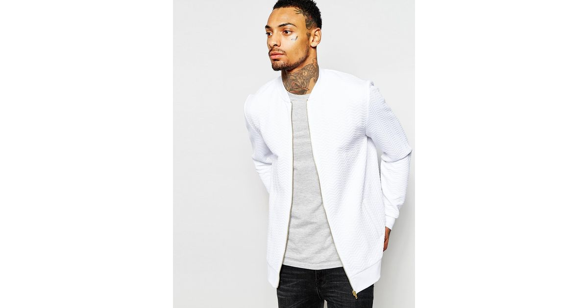Asos Quilted Jersey Bomber Jacket In White For Men Lyst