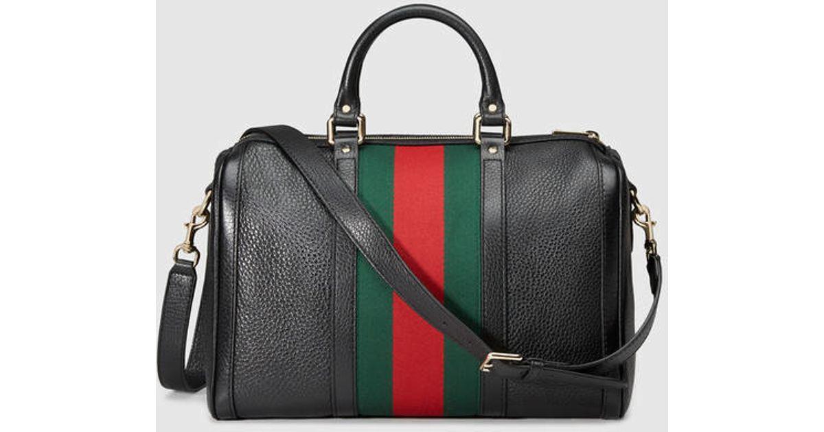 70585951dac Lyst - Gucci Vintage Web Leather Boston Bag in Black