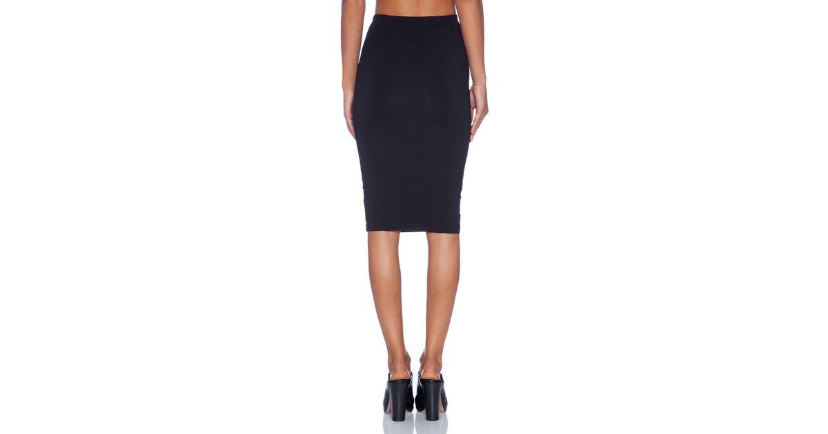 bobi spandex pencil skirt in black lyst