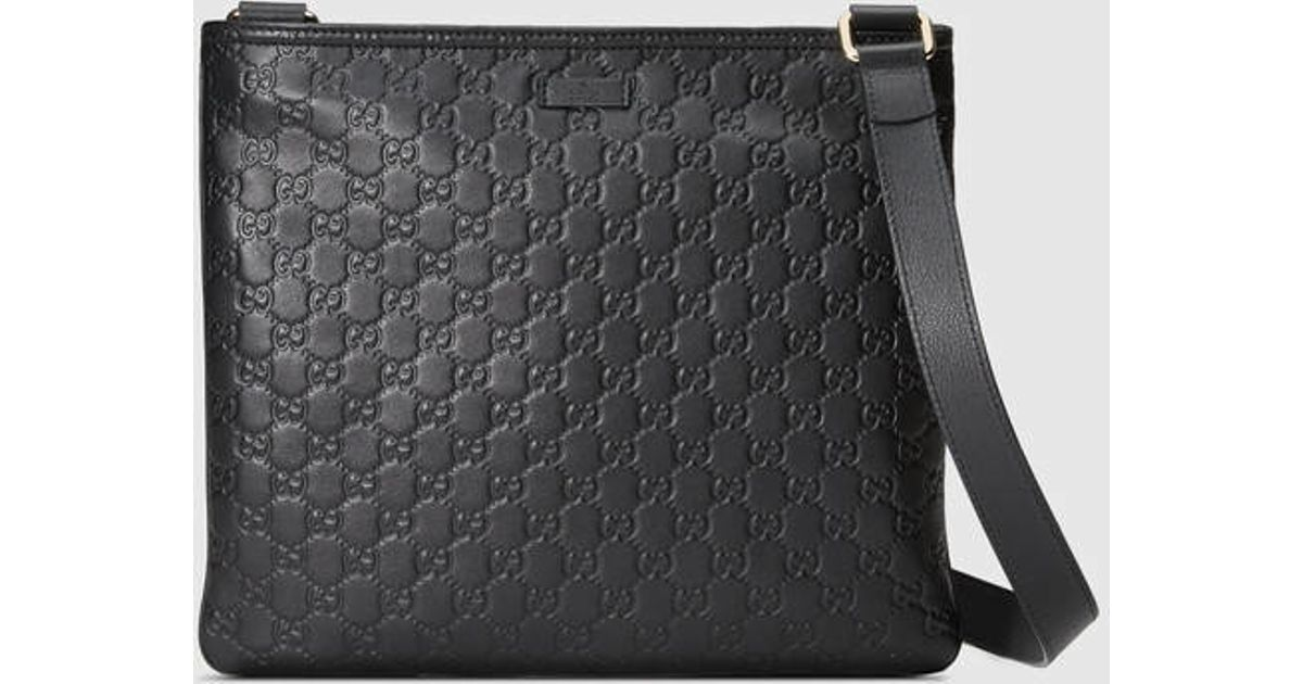 e3fb84dc2 Gucci Guccissima Leather Messenger in Black for Men - Lyst