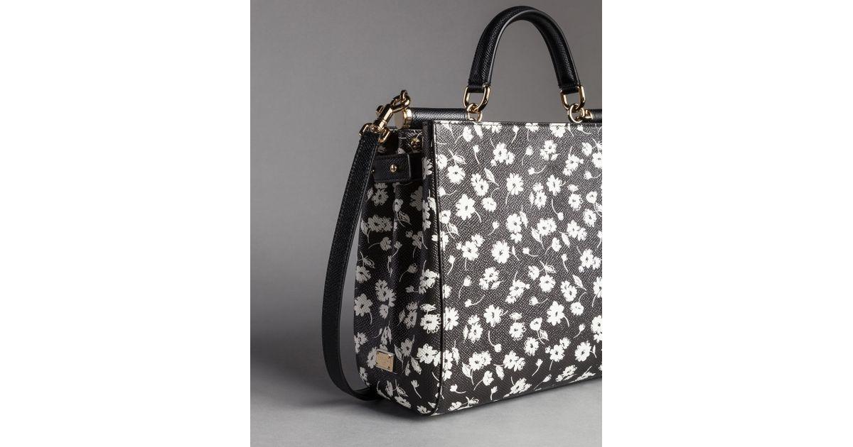 728ad0b33fd4 Lyst - Dolce   Gabbana Flower Print Dauphine Calfskin Sicily Shopping Bag  in Black
