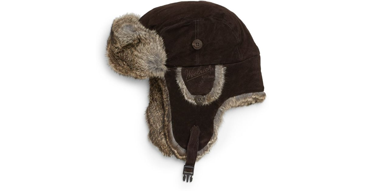 Lyst - Woolrich Suede Rabbit Fur Trapper Hat in Brown for Men 9b6e9f92e8e